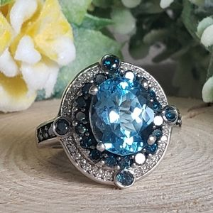 Blue Topaz with B/W Diamond Sterling Silver Ring